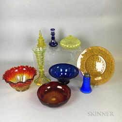 Nine Pieces of Colored Glass Tableware