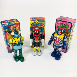 Three Tin Litho Japanese Wind-up Robots with Original Boxes