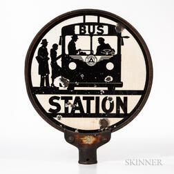 """Enamel and Steel """"Bus Station"""" Sign"""