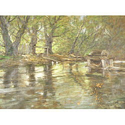 Charles Paul Gruppe (Canadian/American, 1860-1940)  The Old Waterwheel, Conesus Creek, Livingston Co., NY