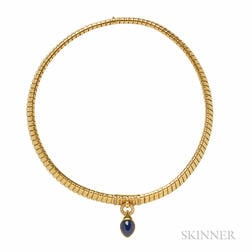 18kt Gold, Sapphire, and Diamond Necklace, Bulgari