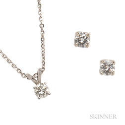 14kt White Gold and Diamond Earstuds and Pendant
