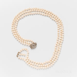 Triple-strand Cultured Pearl Necklace