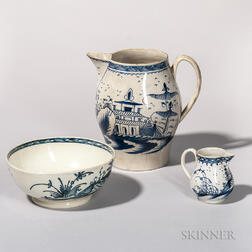 Three Blue and White Pearlware Table Items