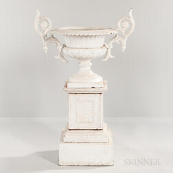 White-painted Cast Iron Garden Urn