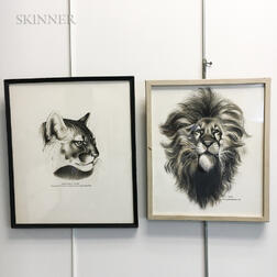 Lowell Francis Hess (American, 1921-2014)    Two Framed Ink Drawings: Cougar's Head