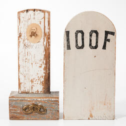 Two Painted Wood Odd Fellows Tombstones