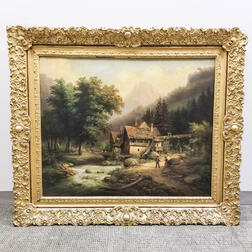 European School, 19th Century    Mill in the Mountains, with Figures and Flock of Sheep