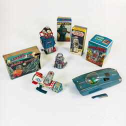 Seven Tin Litho Wind-up and Friction Space Toys