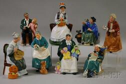 Eight Royal Doulton Porcelain Figures and Figural Groups