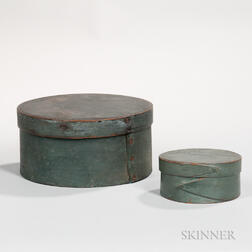 Two Round, Blue-painted, Covered Pantry Boxes