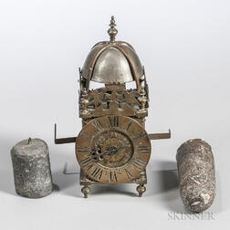 Miniature Brass Time and Alarm Lantern Clock
