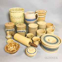 Eighteen Varied Yellowware Table Items