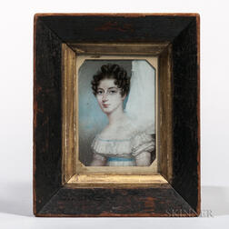 American School, Early 19th Century      Unfinished Miniature Portrait of a Lady
