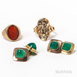 14kt Gold and Diamond Initial Ring, Low-karat Gold and Carnelian Seal Ring, and a Pair of Jadeite Cuff Links