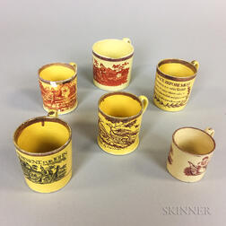 Six Staffordshire Yellow-glazed Transfer-decorated Ceramic Cups
