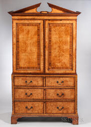 Georgian-style Burl Veneered Armoire