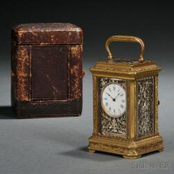 Gilt Brass and Silver Miniature Carriage Clock