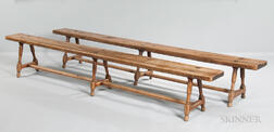 Pair of Continental Baroque-style Walnut Benches