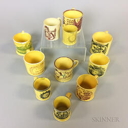 Eleven Staffordshire Yellow-glazed Lustre-decorated Cups