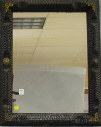 Tramp Art Notch-carved Black-painted and Gilt-decorated Mirror Frame