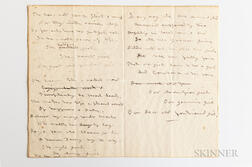 Alcott, Louisa May (1832-1888) Unpublished Manuscript Poem, To Constance  , Concord, c. 1882.