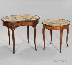 Two Louis XV-style Marble-top Satinwood Side Tables