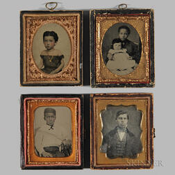 Four Cased Tintypes and Daguerreotype Depicting Mixed Race Children