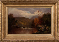 William Ongley (New York/England, 1836-1890)      Landscape with Stream and Hills