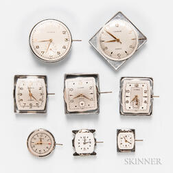 Eight Illinois Men's and Women's Manual-wind Wristwatch Movements and Dials