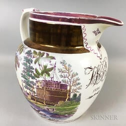 Large English Transfer-decorated Pink Lustre Ceramic Jug