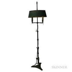 French Brass and Painted Tin Two-light Floor Lamp