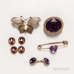 Group of 14kt Gold and Amethyst Jewelry and a 14kt Gold and Baroque Pearl Butterfly Brooch