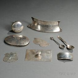 Seven Silver Yachting Trophy Components