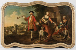 French School, 19th Century      Rococo Landscape with Picnicking Peasants and a Nobleman with a Hunting Horn