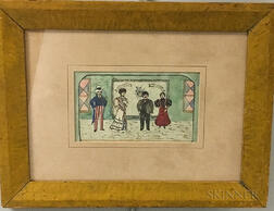 Framed Folk Art Watercolor Scene with Uncle Sam and Aunt Columbia