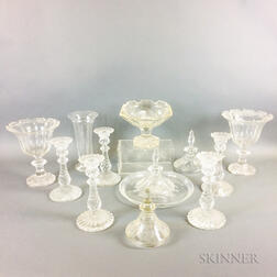 Twelve Pieces of Colorless Glass Tableware