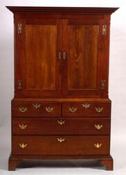 Chippendale Walnut Carved Linen Press