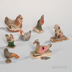 Three Pipsqueak Toys and Four Small Hen and Rooster Figures