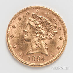 1894 $5 Liberty Head Gold Coin.     Estimate $300-500