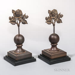 Pair of Cast Iron Floral Fence Finials