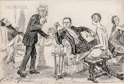 Charles Dana Gibson (American, 1867-1944)      Mr. Pipp: He hopes that no one will disturb themselves on his account