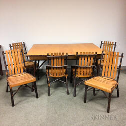 Set of Six A.C. Latshaw Bentwood Hickory Chairs and a Table