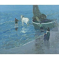 John Noble (American, 1874-1934)  Launching the Boat/On the Brittany Coast