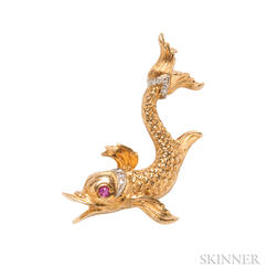 18kt Gold Dolphin Brooch, Buccellati