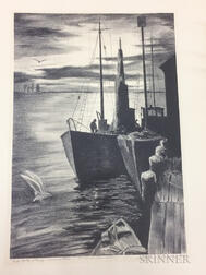 Lithograph Print End of the Wharf-Provincetown
