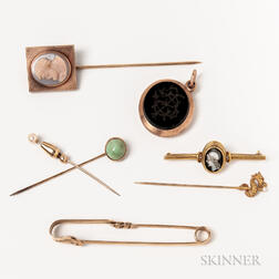 Group of Stickpins, a 14kt Gold Kilt Pin, and a Mourning Locket