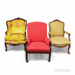 Two French Provincial-style Upholstered Fauteuils and a Regency-style Armchair.     Estimate $100-200