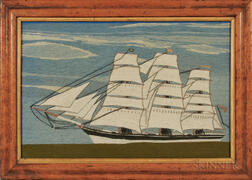 Small Woolwork Picture of a Three-masted Vessel