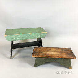Two Painted Pine Cricket Stools
